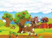 Kreslená farma scéna s běží kůň a pes