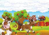 běžícího koně a psa s postavení krávy