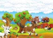 běh koně a psa s hlad koza a jíst ovce