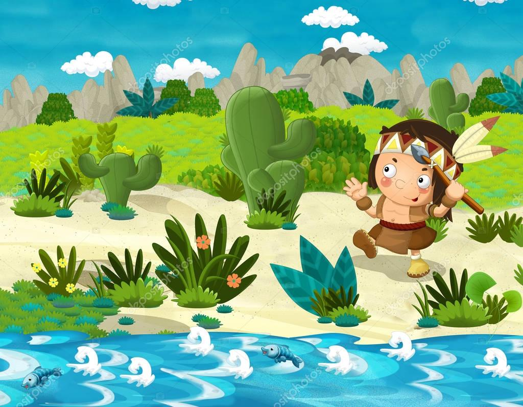Cartoon indian character in the wilderness