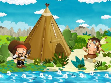 Cartoon indian character neat his tee pee in the wilderness and bad cowboy with a gun - illustration for children