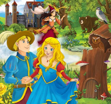 prince and princess in front of castle - sorceress in the background