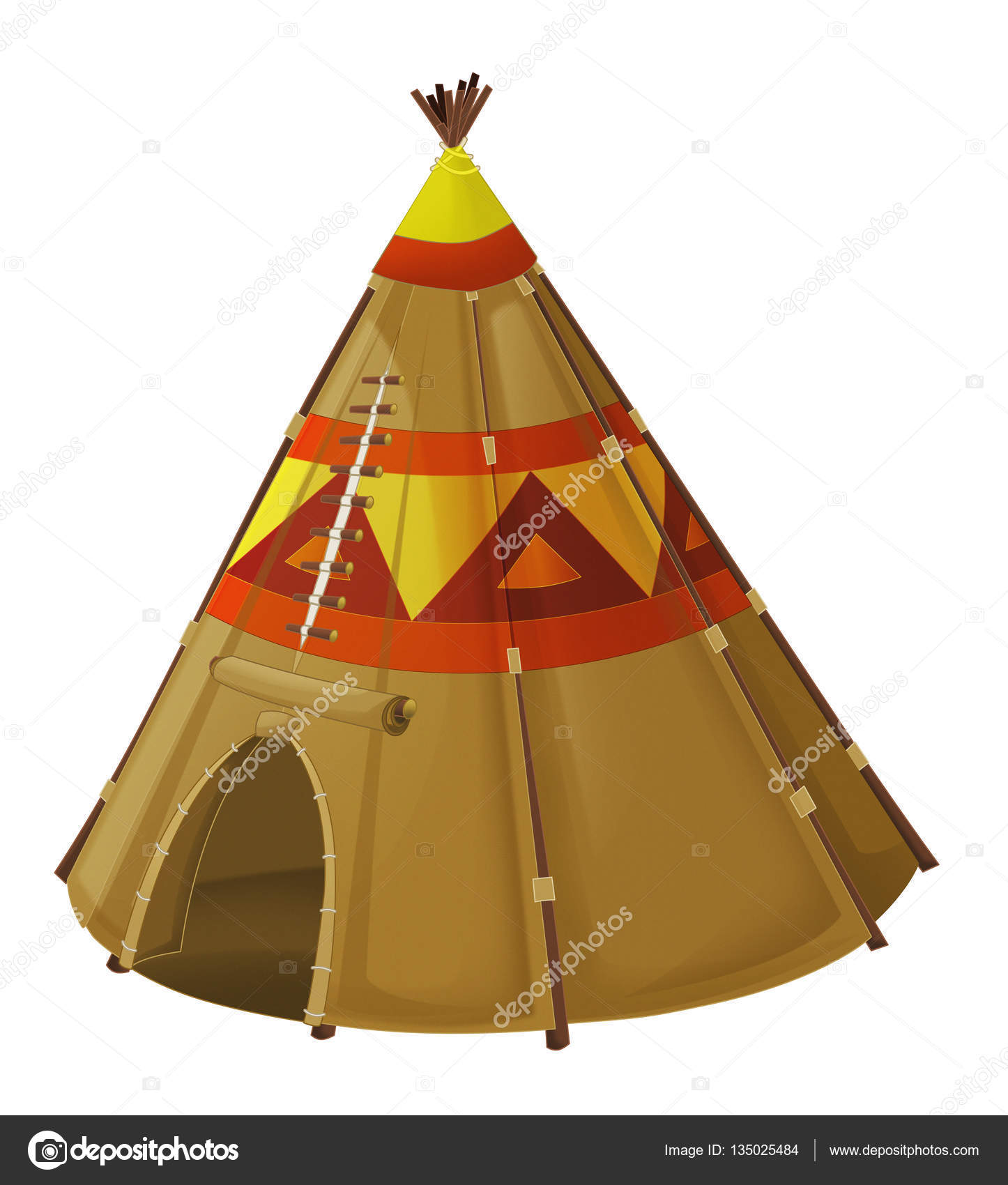 Cartoon happy and funny traditional isolated indian tent - for different fairy tales - illustration for children u2014 Photo by illustrator_hft  sc 1 st  Depositphotos & Cartoon traditional tent - tee pee u2014 Stock Photo © illustrator_hft ...