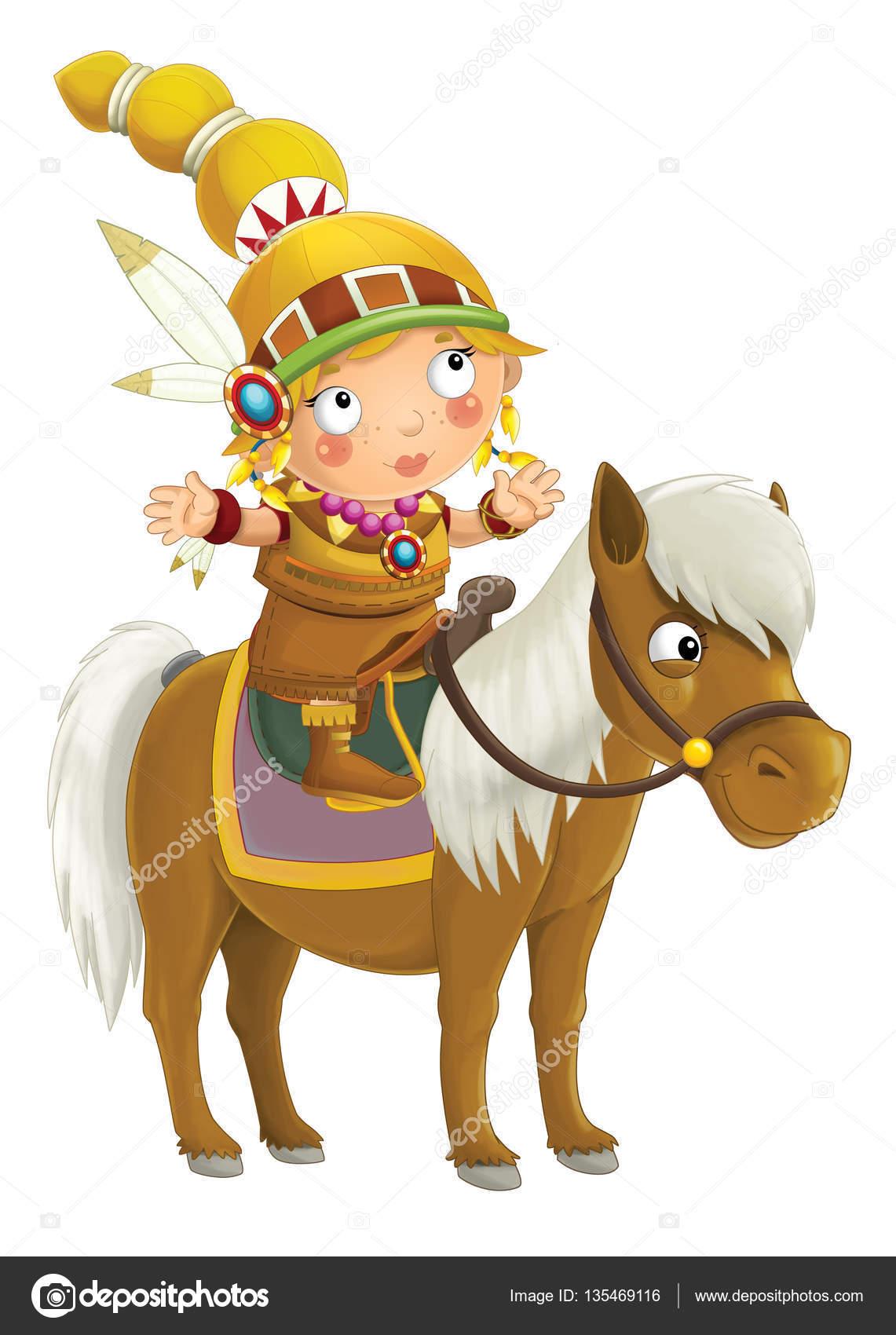 Indian kobieta kresk wka na koniu zdj cie stockowe illustrator hft 135469116 - Dessin anime indien cheval ...