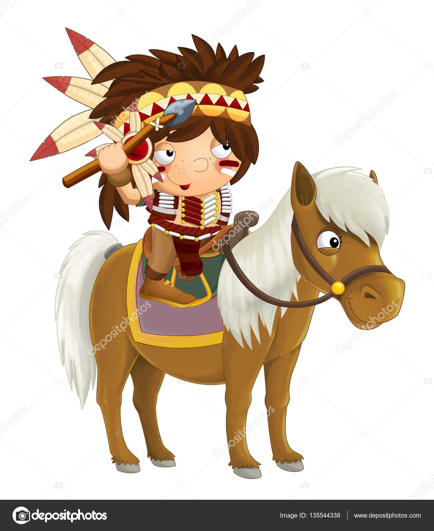 Dessin anim occidental indien cheval photographie illustrator hft 135544338 - Dessin anime indien cheval ...