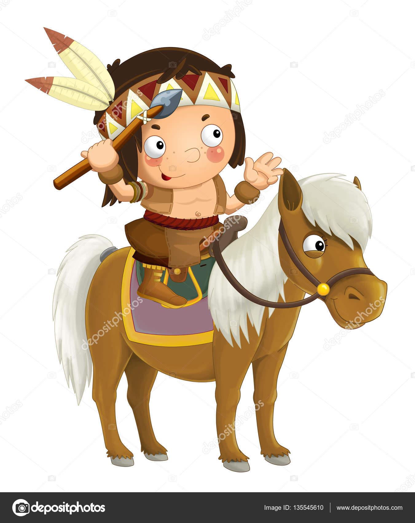 Cartoon Western Indian On Horse Stock Photo C Illustrator Hft