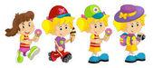 Cartoon set of young girls