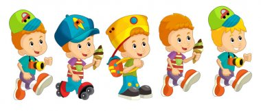 Cartoon set of young boys