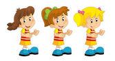 Cartoon set of young girls - illustration for children