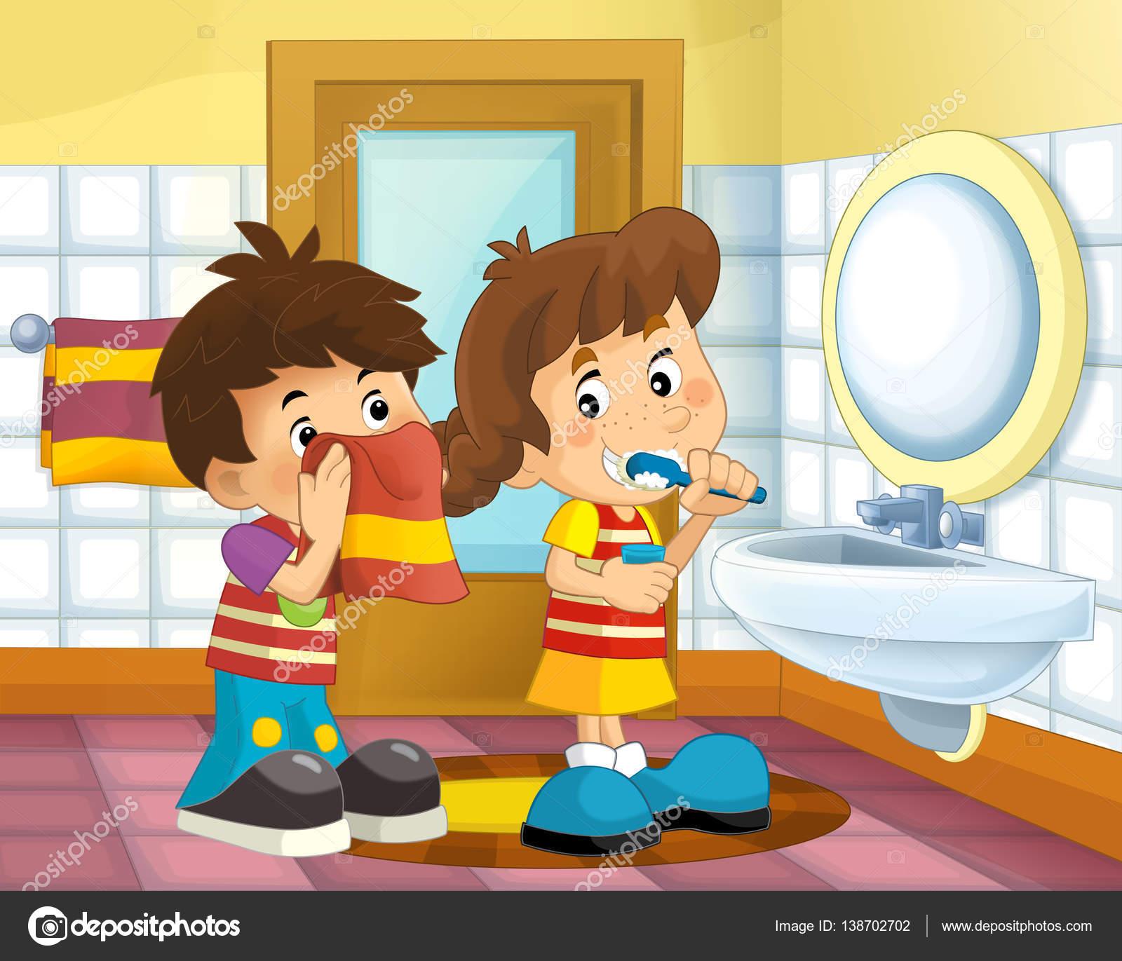 Dibujos: baños animados | Niños de dibujos animados en el ...