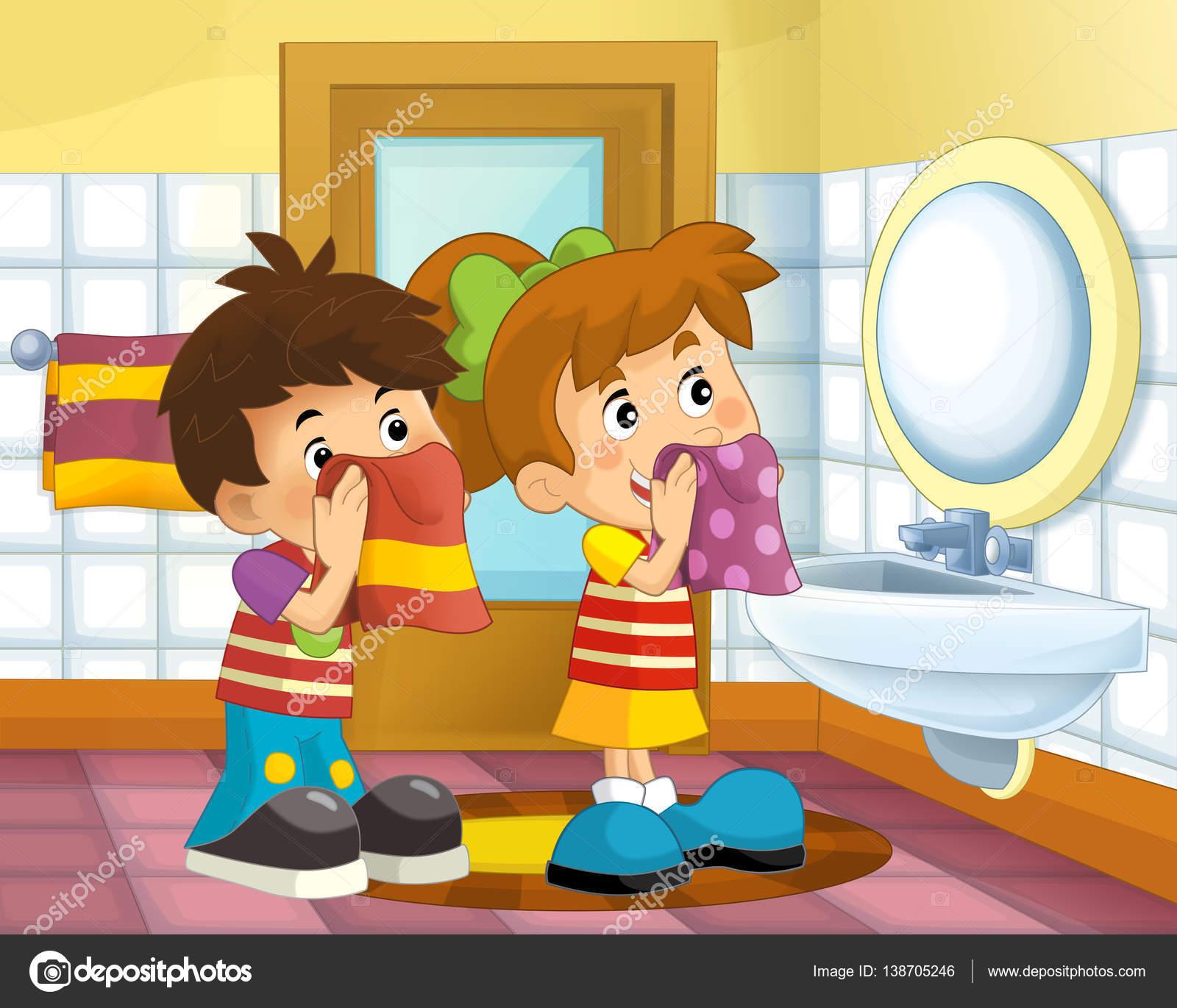 Cartoon Kinder im Badezimmer — Stockfoto © illustrator_hft ...