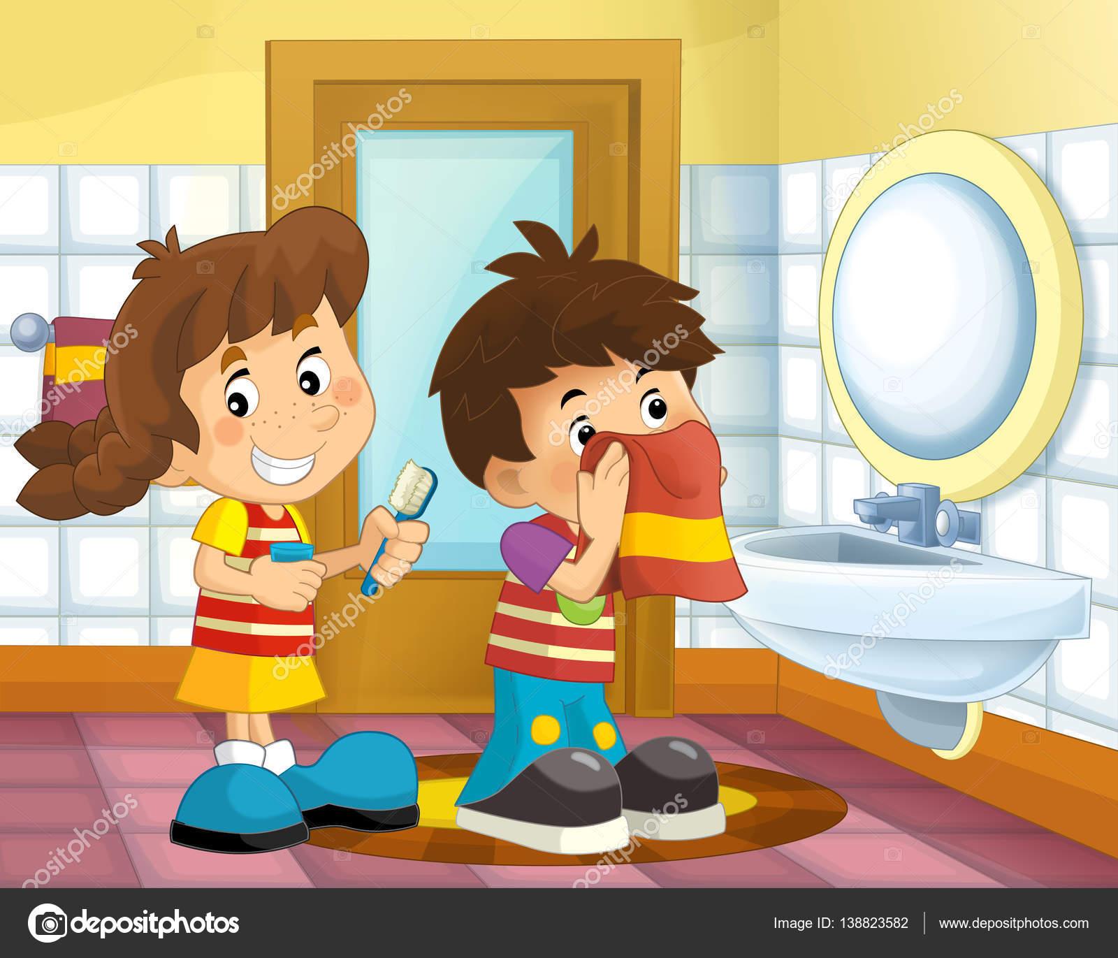 enfants dessin anim dans la salle de bain photographie illustrator hft 138823582. Black Bedroom Furniture Sets. Home Design Ideas