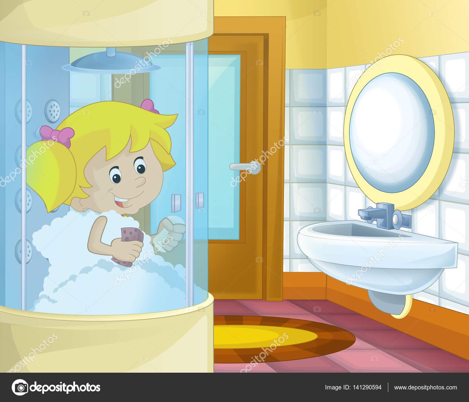 Animado: bathroom dibujo | Chica de dibujos animados en el ...
