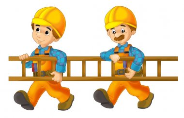 Cartoon construction workers holding ladder