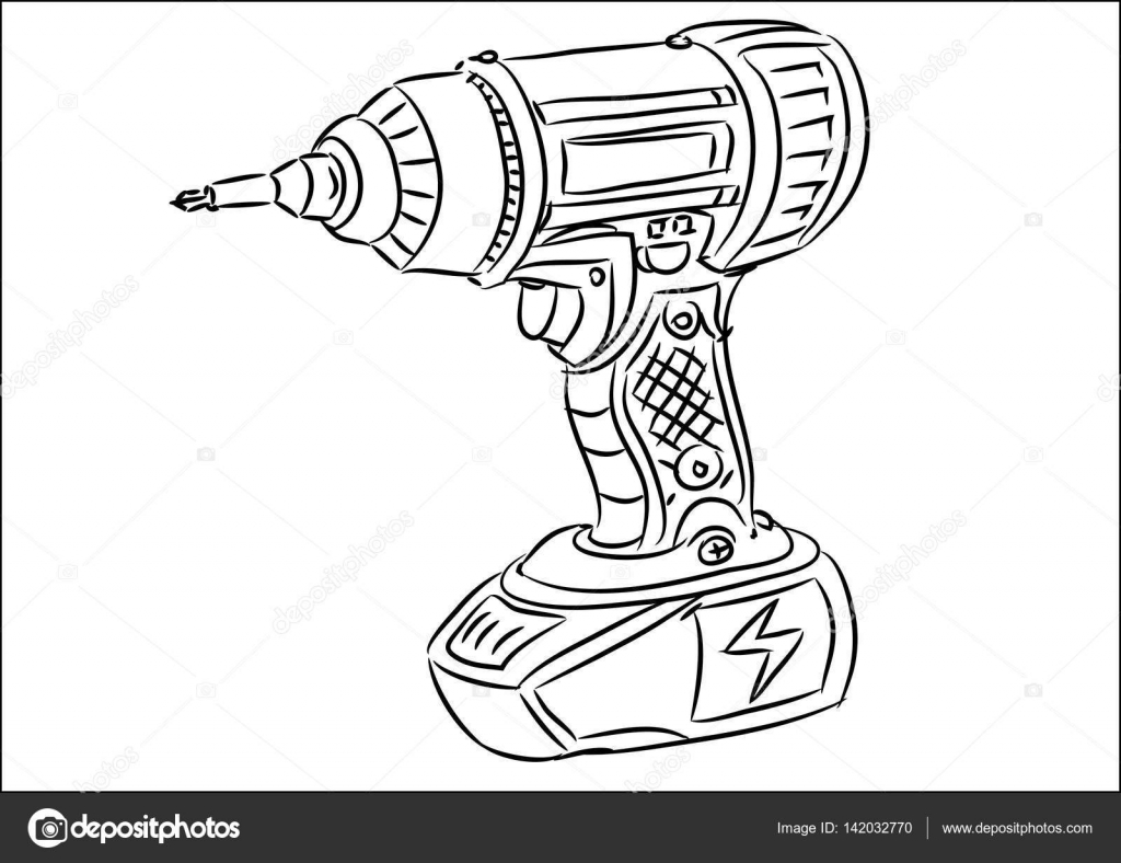 taladro inal u00e1mbrico de mano de dibujos animados  u2014 vector