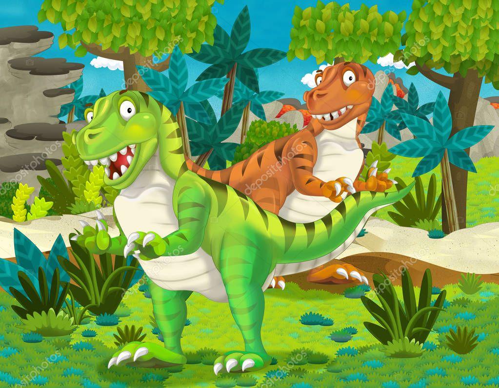 Cartoon pair of dinosaurs tyranosauruses