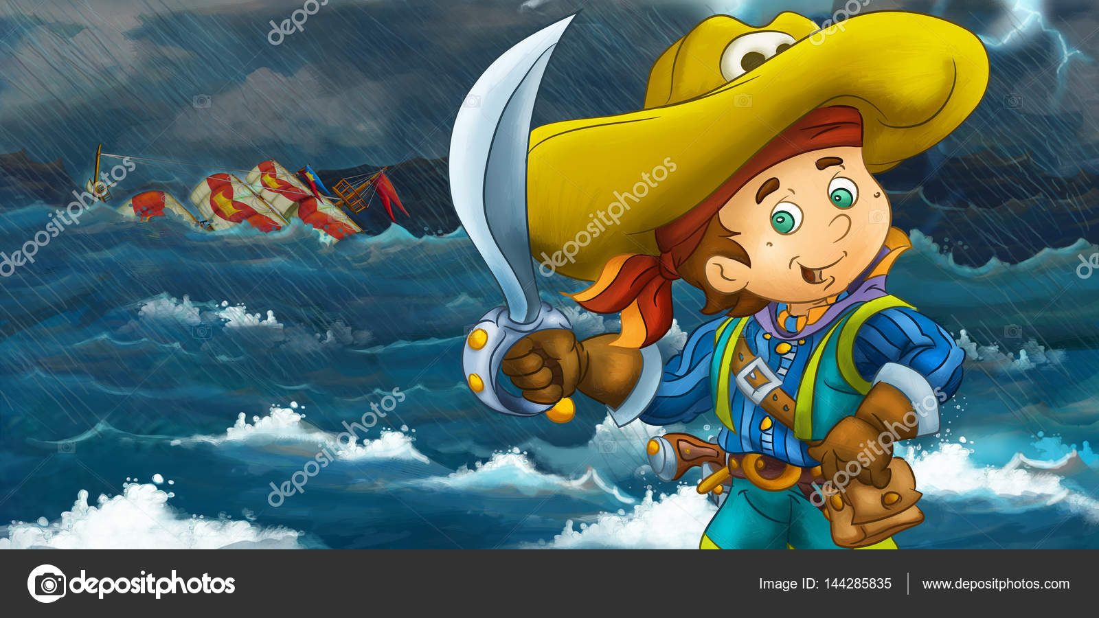 Cartoon Happy Pirate In Front Of A Wooden Ship Photo By Illustrator Hft