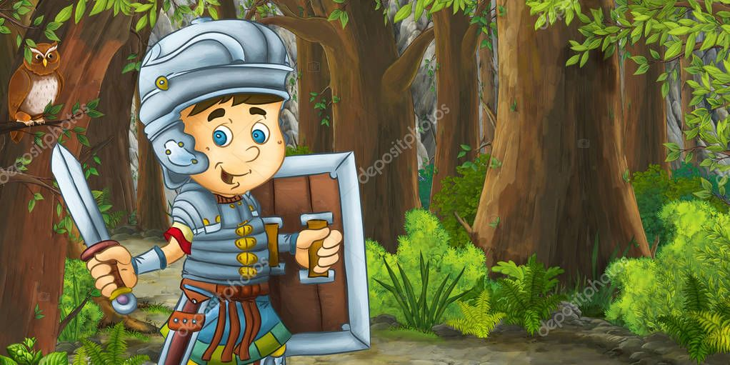 roman soldier with sword and shield in the forest