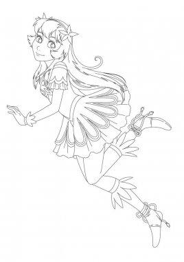 Cartoon fairy princess with valentine heart