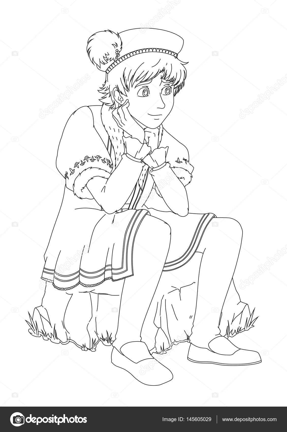 Príncipe de niño sentado en la roca — Vector de stock ...