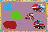 Kreslený hádání s požární vozidla