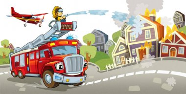 Cartoon stage with firefighter and his vehicle