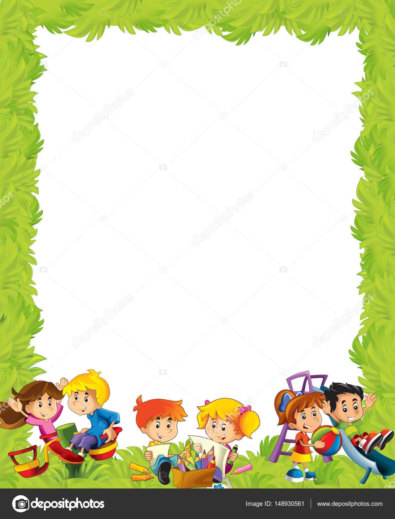 marco con niños divirtiéndose y jugando — Fotos de Stock ...
