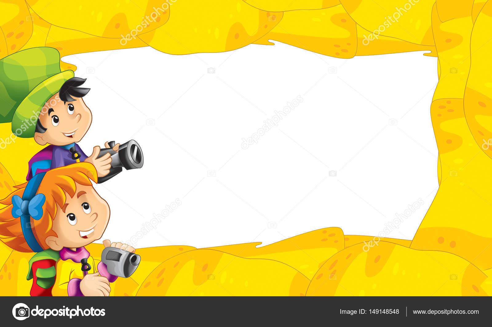 marco de dibujos animados arena con los niños con cámaras — Fotos de ...
