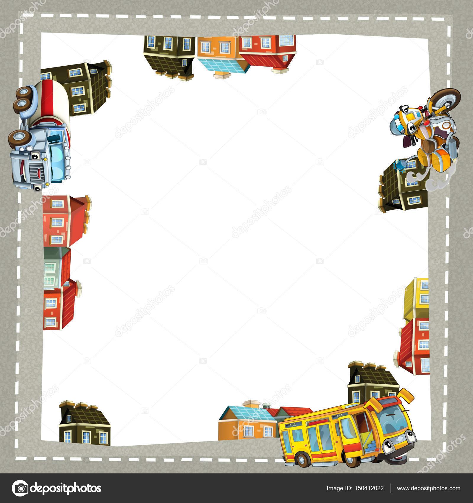 Cornice di cartone animato un camion moto e autobus in