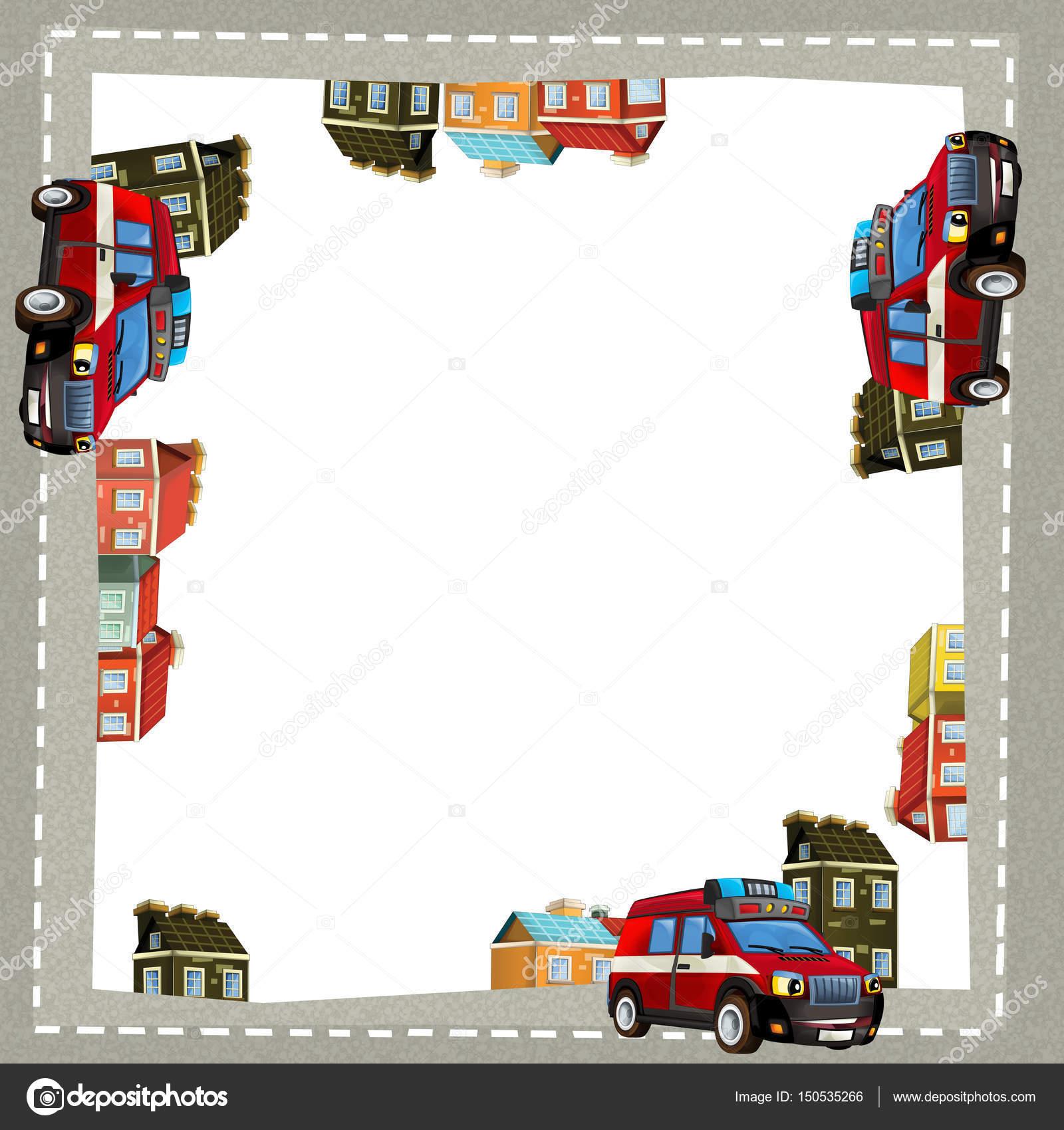 Marco de dibujos animados de una carga de camión de bomberos en la ...
