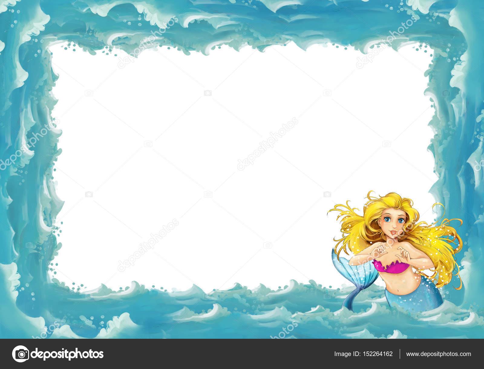 Cartoon sea frame with mermaid — Stock Photo © illustrator_hft ...