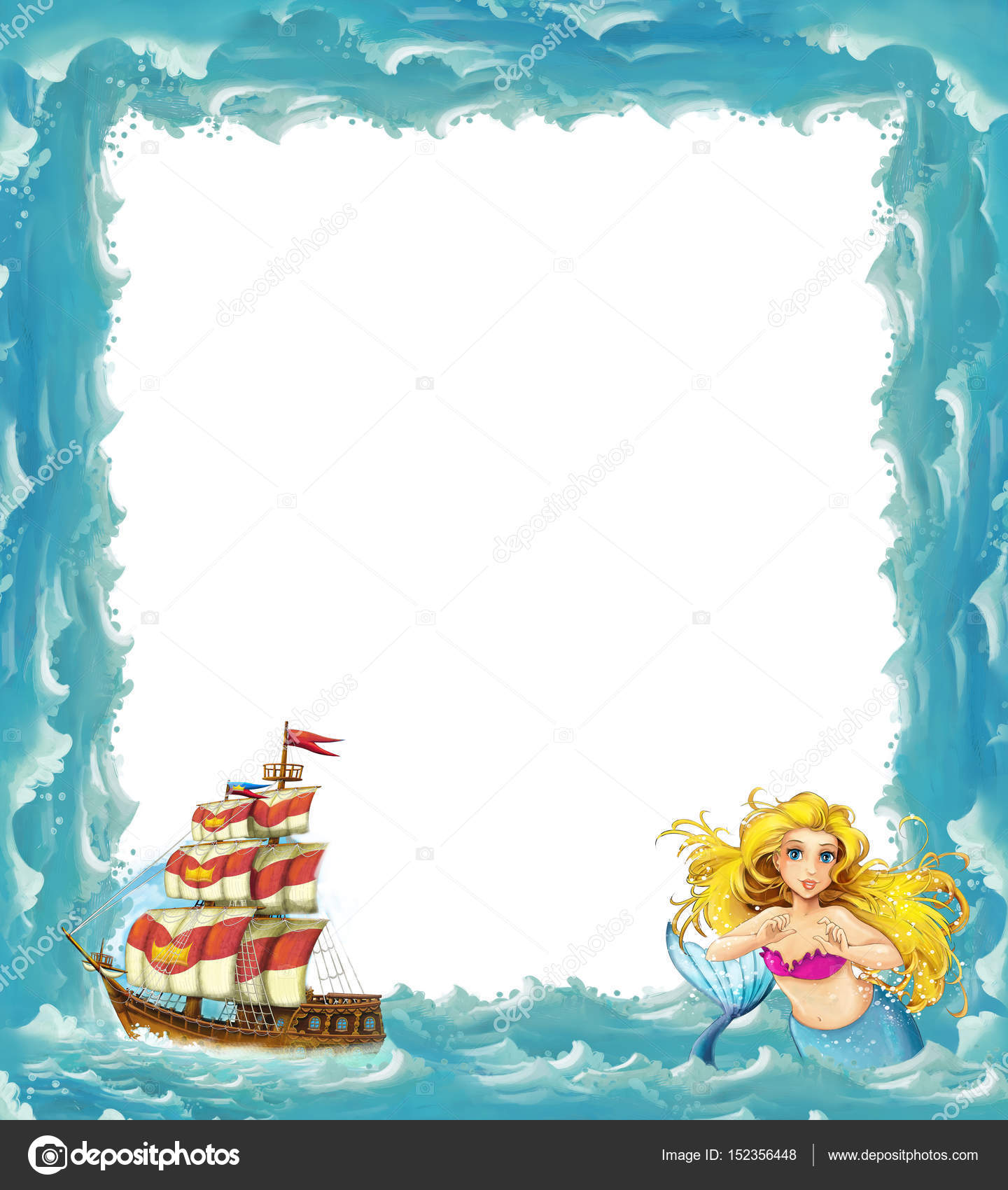 sea frame with mermaid and wooden ship — Stock Photo ...
