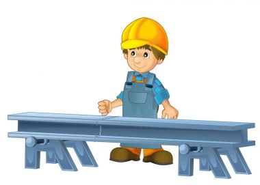 Cartoon Construction Worker In Some Additional Safety Cover Standing In Front Of Steel Beam stock vector