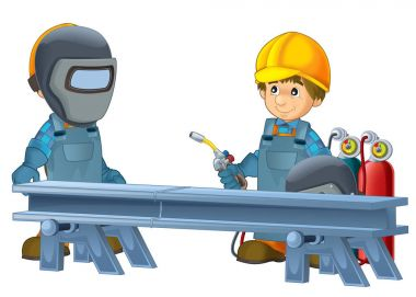 Cartoon Construction Workers In Some Additional Safety Covers Standing In Front Of Steel Beam stock vector