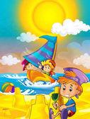 Děti hrající si na pláži u moře nebo oceán