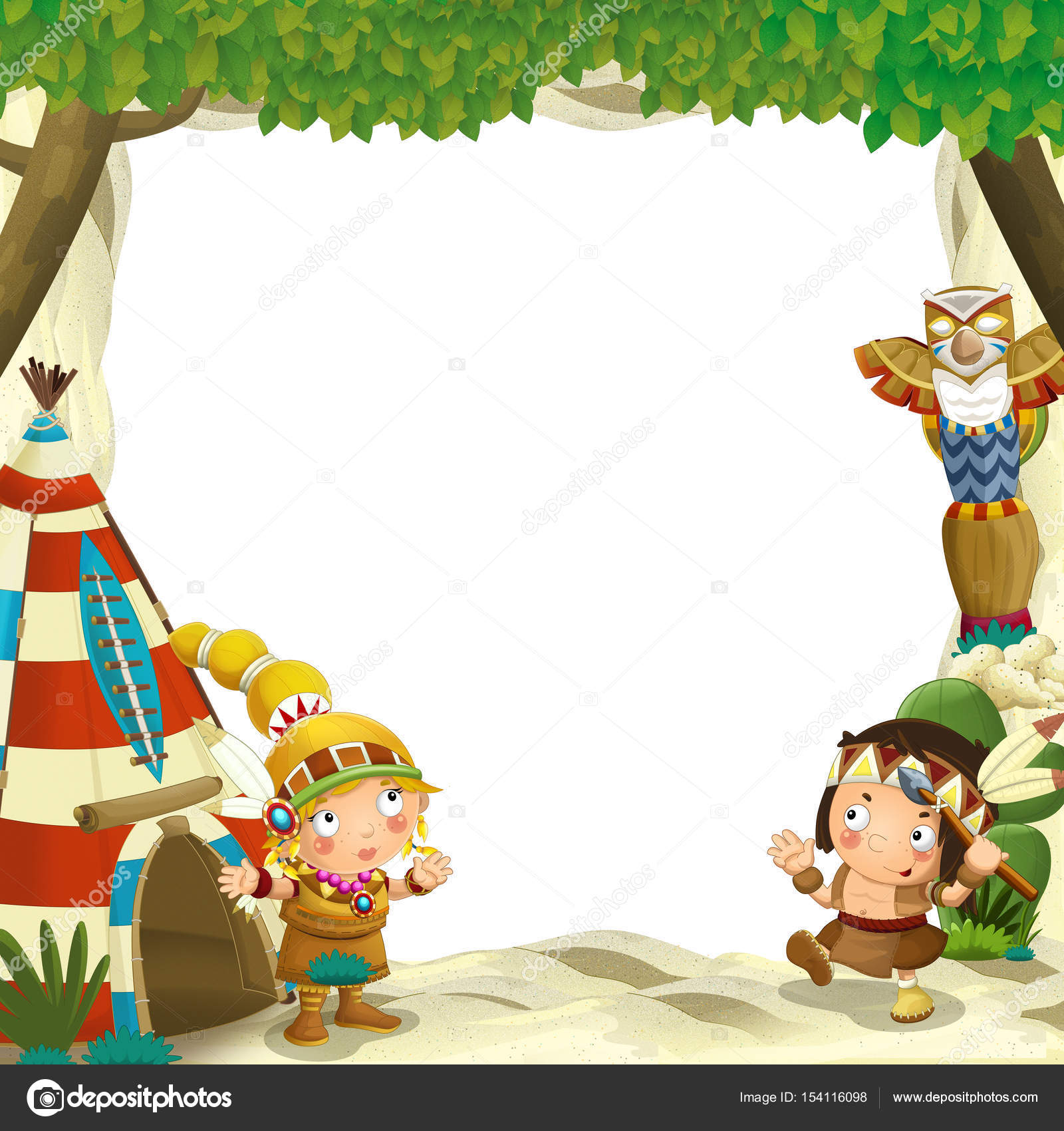 Imágenes Niños Indigenas Animados Para Colorear Marco Para El Uso