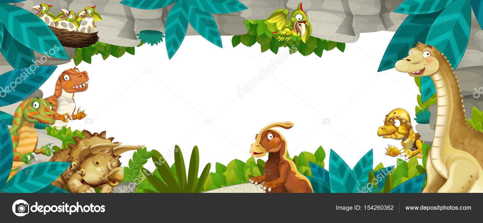 Marco de naturaleza prehistórica de dibujos animados con los ...
