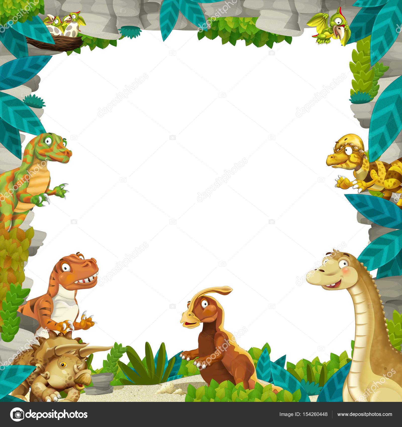 Cartoon prehistoric nature frame with dinosaurs — Stock Photo ...