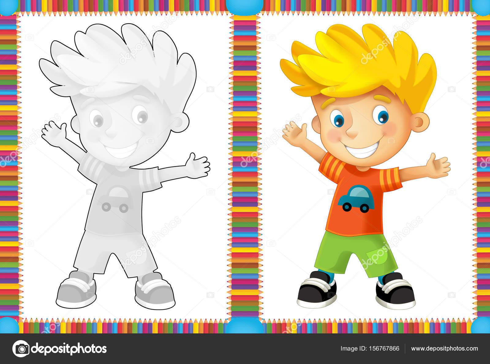 niño feliz - colorear página con muestras de las — Foto de stock ...