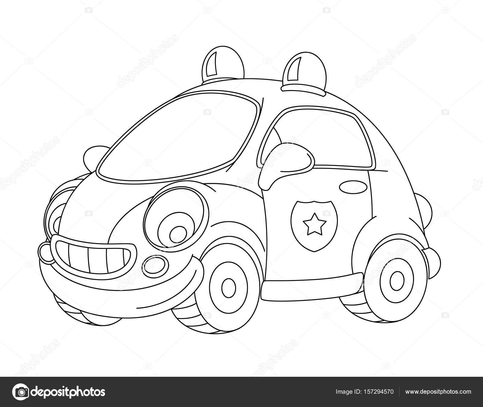 Cartoon funny and happy ambulance car — Stock Photo ...