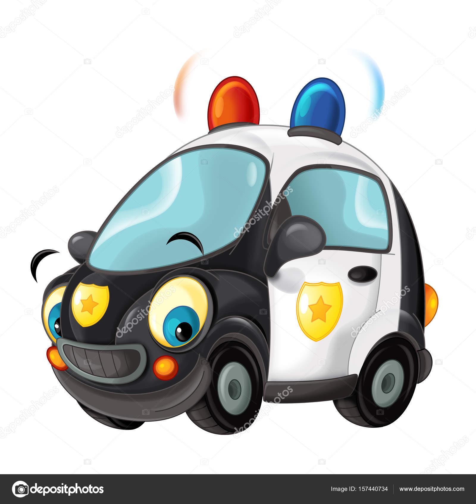 auto de la policía de la historieta — Fotos de Stock ...