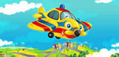 letadlo s vrtulí s úsměvem a létání nad městem