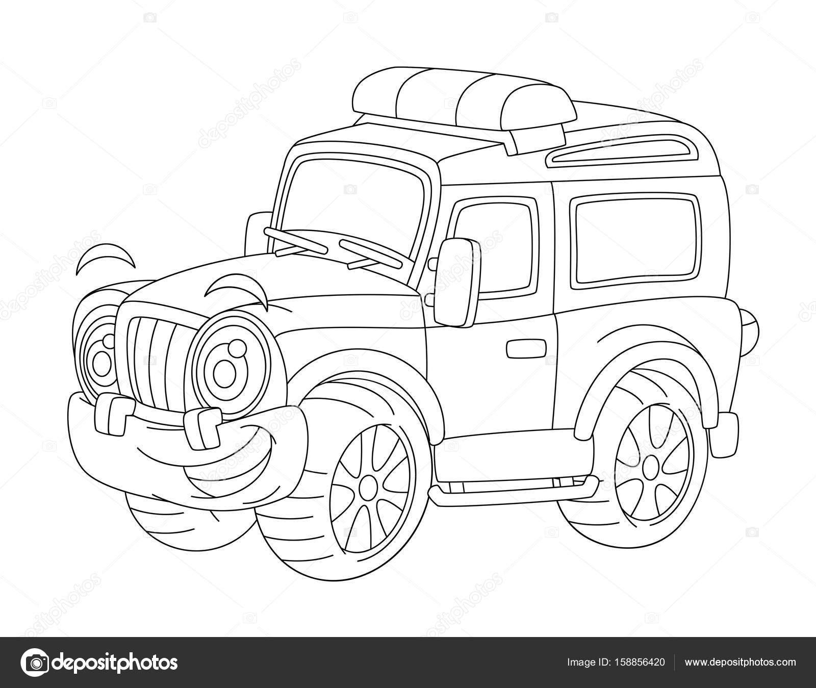 de carro de bomberos o policía carretera - página para colorear ...