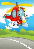 hasič vrtulník s úsměvem a létání nad