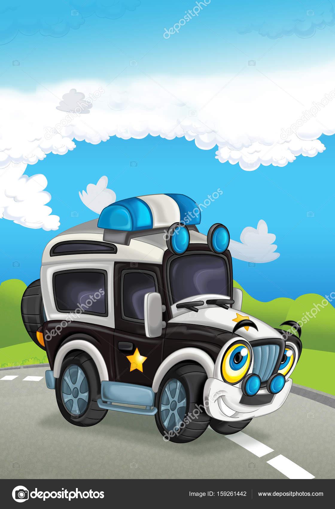 Voiture de police de dessin anim sur la route photographie illustrator hft 159261442 - Voiture police dessin anime ...