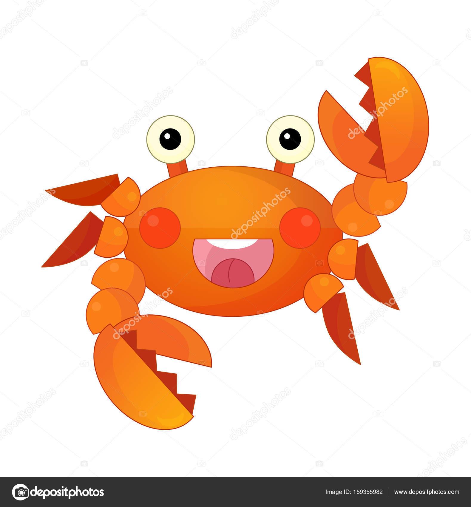 cangrejo de mar de dibujos animados de pie y sonriendo — Foto de ...