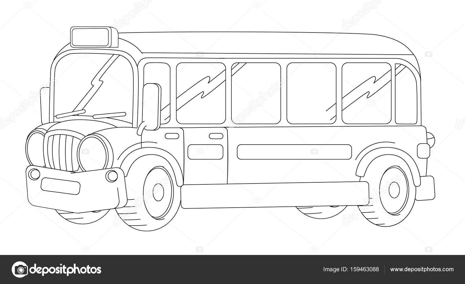 froh und lustig aussehende Cartoon-bus — Stockfoto © illustrator_hft ...