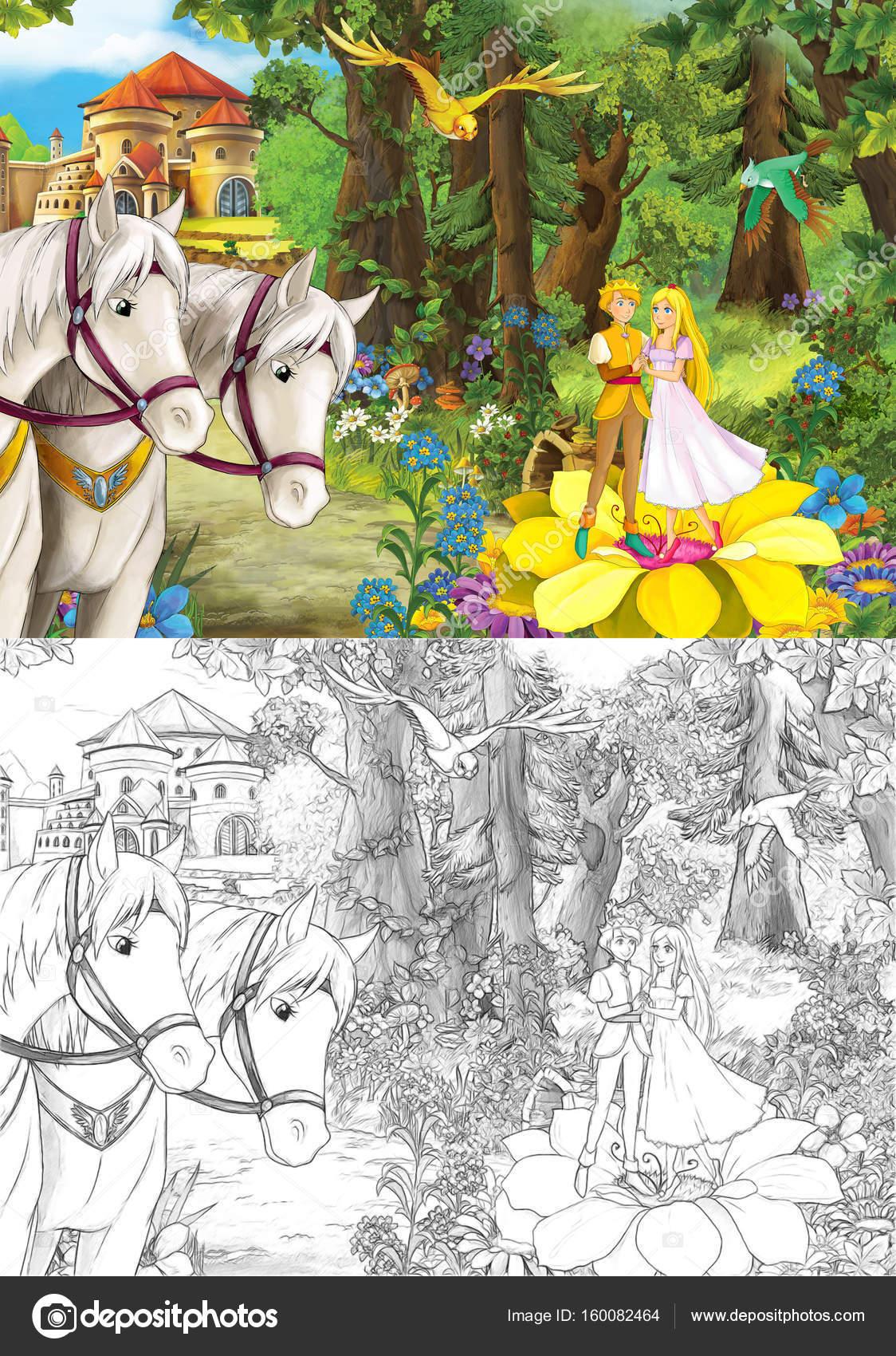 par en las flores con los caballos cerca — Foto de stock ...