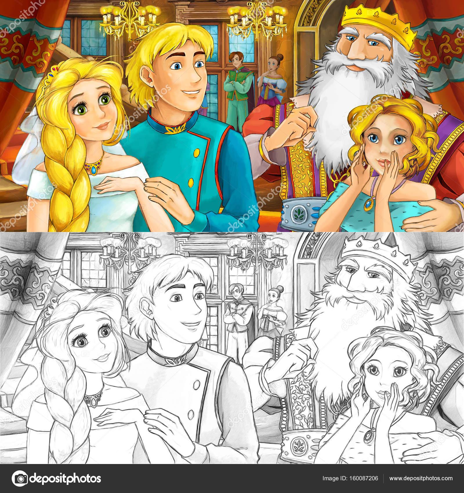 pareja en el castillo con el padre y su hermana — Foto de stock ...