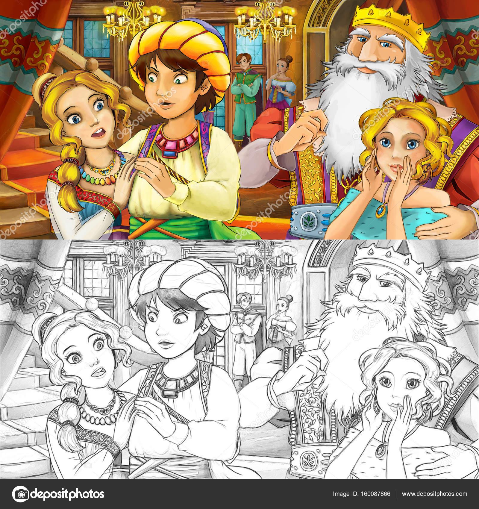 pareja en el castillo con el padre y su hermana — Fotos de Stock ...